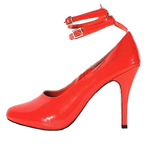 bd941cf3b1cec0 MicheleX ultima moda - 7906 cinturini in PVC rosso alla caviglia Scarpe con  tacco a spillo
