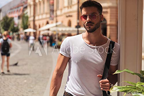 druck-shop24 Wunschmotiv: Portrait of Attractive Casual Man with red Sunglasses Standing #243131048 - Bild hinter Acrylglas - 3:2-60 x 40 cm / 40 x 60 cm