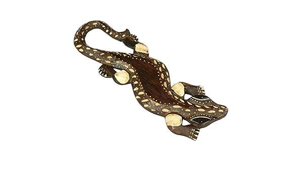 Exotischer Gecko Echse Eidechse Wanddeko Dekoration Souvenir 33cm Holz Bunt Nr.2