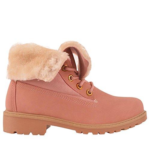 Kinder Mädchen Umklappen Top flauschigen Kunstfell gefüttert Winter Springerstiefel Knöchel Schuhe Rosa
