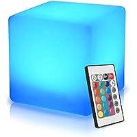 40cm LED Würfel Licht Stimmungslicht mit Fernbedienung, im Freien Wasserdichter Farbwechsel Würfelhocker, Nachladbare Batteriebetriebene, Justierbare RGB Farben und Dimmbare Nachtlicht zum Wohnzimmer