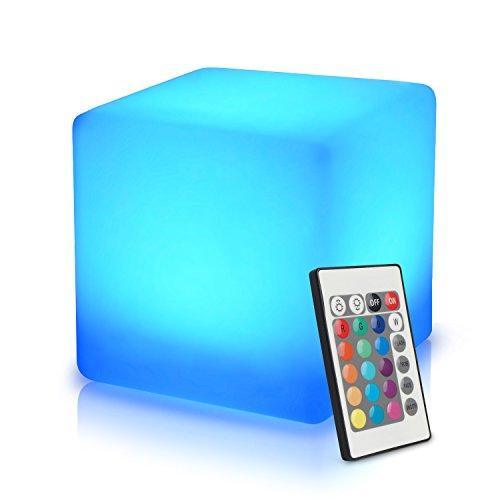 40cm LED Würfel Licht Stimmungslicht mit Fernbedienung, im Freien Wasserdichter Farbwechsel Würfelhocker, Nachladbare Batteriebetriebene, Justierbare RGB Farben und Dimmbare Nachtlicht zum Wohnzimmer (Outdoor-beistelltisch Weiße)