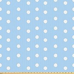 ABAKUHAUS Agua Tela por Metro, Los Lunares Azul Y Blanco, Microfibra Decorativa para Artes y Manualidades, 3M (160x300cm), Azul Blanco Del Bebé