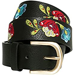 Desigual Cint_embroidered Belt Caribou, Cinturón para Mujer, Negro (Negro 2000), 95