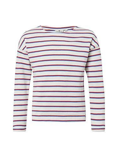 TOM TAILOR für Mädchen Strick & Sweatshirts Gestreiftes Sweatshirt  Cloud Dancer|White, 176 - Feinstrick-piqué
