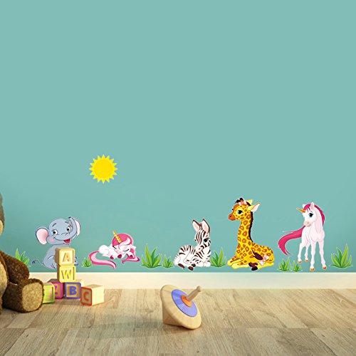 Zooarts dibujos animados animales elefante jirafa caballo pegatinas de pared extraíble adhesivos arte de pared decoración Vinilo Niños Mural de Habitación