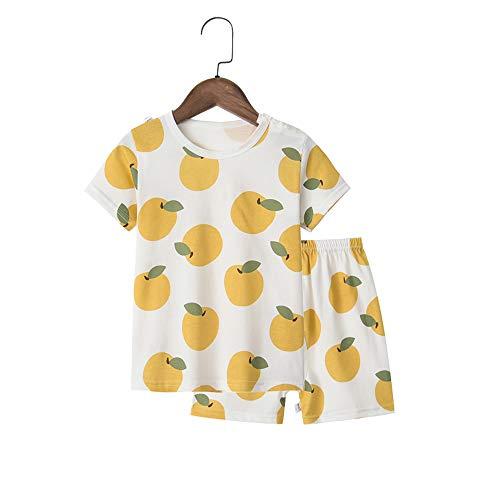 Chickwin Mädchen Zweiteiliger Schlafanzug, 100% Baumwolle Kinder Sommer Kurze Ärmel Kurze Hose Nachtwäsche Pyjama Set (4~5 Jahre Alt(110),Orange)