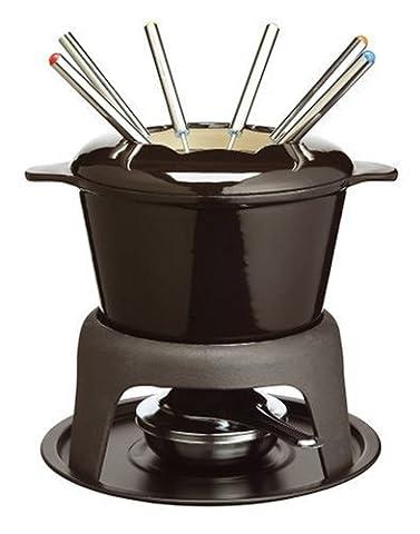 KitchenCraft MasterClass Cast Iron Meat/Cheese/Chocolate Fondue Set, Black, 21 x