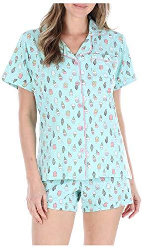 Sleepyheads Schlafanzug für Damen, Oberteil aus Jersey mit kurzen Ärmeln und Knöpfen und Kurze Hose, Pyjama (SH1927-5037-EU-SML)