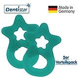 Dentistar® Beißring im 2er-Set - Stern - Zahnungshilfe für Babys ab 3 Monate - Kühlbeißring Baby aus TPE - Made in Germany – Tannen Grün