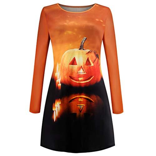 Lenfesh Halloween Kostüme Frauen Kleid Pumpkin Damen Sweatshirt Jumper Pullover Sweater Kleid O Neck für Fasching, Erwachsenenkleid, Party, Nachtclub