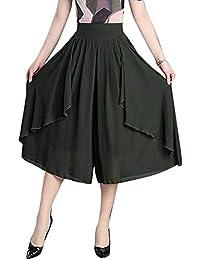 Mujer Pantalones Falda Fashion Ocasional Anchas Pantalon Anchos Elegantes  Fiesta Estilo Vintage Unicolor Cintura Alta Aireado 2d9c9eed9d30