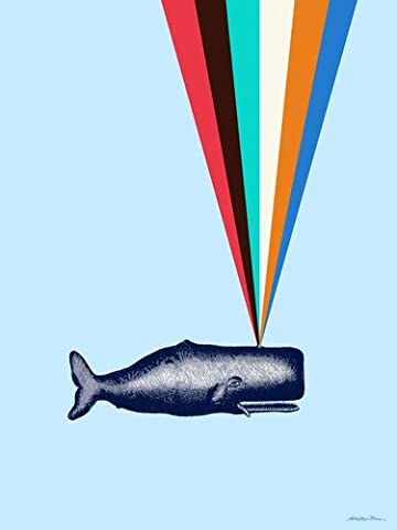 Wheatpaste Art Collective Posters That Stick Wall Decal Rainbow Whale by Misha Maynerick Blaise, 18 by 24-Inch