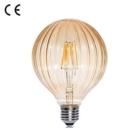 Speclux Kürbis Dekorationen LED Kürbis Birnen 4 Watt Bernstein Glas Weich 2700K Warm Weiß E27 Edison Schraube Ersatz von 40W Glühlampe Satz von 1 Einheiten [Energieklasse a ++]