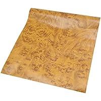sourcingmap 100 X 30 cm de Madera Brillante Textura de Grano Amarillo Autoadhesiva del Vinilo Coche