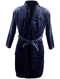 Homme Peignoir de Bain Chaud Doux Luxe Molleton SPA Robe en Laine Polaire Vêtement de Nuit - Marine, XL