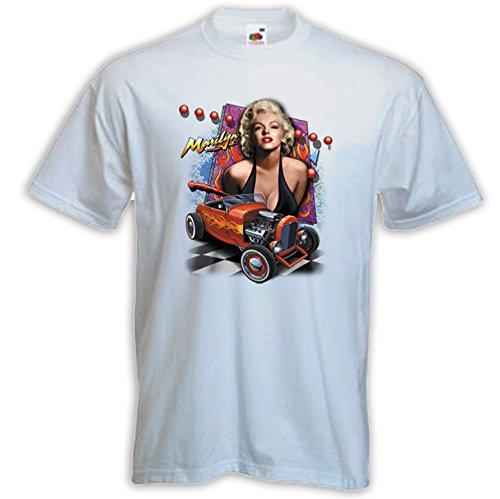 Rockabilly T-Shirt Marilyn Hot Rod weiß Pinup V8 Hollywood Weiß