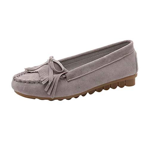 Damen-Frauen-Kissen-Weg-Veloursleder-Quaste Slip-On Wide Fit Normallack Loafer Mokassin Rutschfeste Sandalen Schuhe Plus Größe (Stein Birkenstocks)