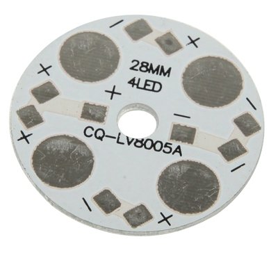 Accessoires LED, 4W High Power 4 Plate Aluminium Base de LED, Diamètre: 28mm