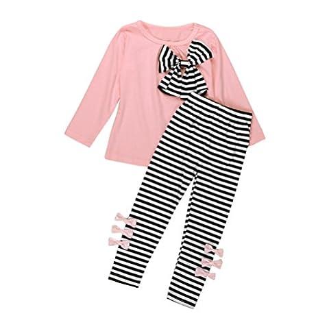 Ensemble à Manches Longues, Internet Bébé Fille Bowknot Robes T-Shirt + Pantalon rayé Mélange de coton (3-4 Ans, Rose)
