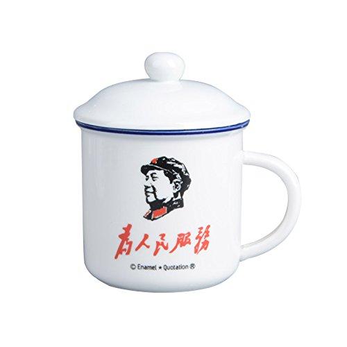 TIANLIANG04 Becher Kaffeetassen Keramik Becher Tasse Retro Imitation Emaille Tasse Mit Deckel Glas...
