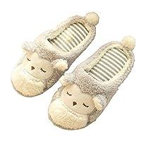 Wansan Women Slippers Cartoon Cute Monkey Couple Slippers Home Slippers Non-Slip Warm Cotton Slippers for Women White