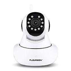 FLOUREON 720P IP Kamera WLAN Überwachungskamera Pan/Tilt IP Cam P2P Netzwerkkamera Baby Monitor 2 Wege Audio IR Nachtsicht Bewegungsmelder (N5810H)