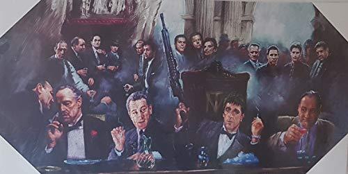 Kunstdruck auf Leinwand, Motiv: chillende TV-Gangster, Scarface Goodfellas Der Pate Sopranos, 61 x 30,5 cm