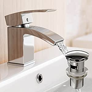 Courbe Mitigeur de lavabo avec bonde de vidage Pop-Up pour lavabo