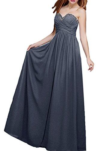 La_mia Braut Grau Herzausschnitt Chiffon Steine Abendkleider Ballkleider Brautmutterkleider Festlichkleider Grau