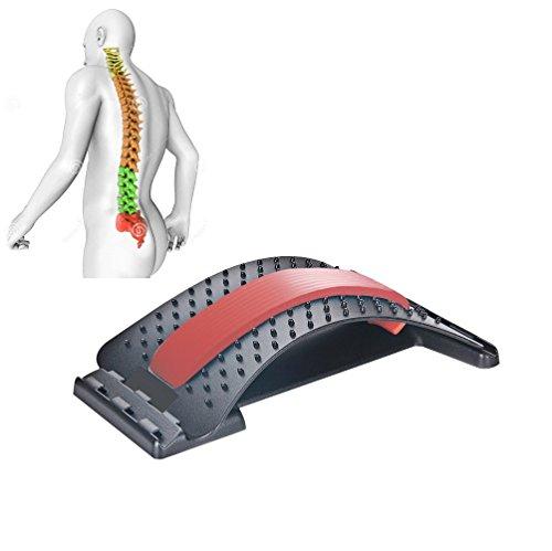 JIAL-SMEIL Masajeadores de Espalda para enderezar la Espalda y Las lumbares, Dispositivo de Estiramiento Lumbar,Alivio de Dolor de Espalda ciática,Hernias discales ([Panel Negro] - Rojo)