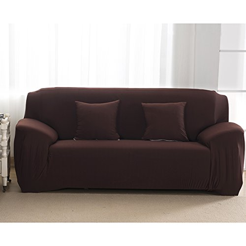zantec Elastic rutschfeste Pure Color Soft Stuhl Sofa Bezug Stretch Polyester Sofa Bettüberwurf Antimilben Shield Displayschutz Stilvolle Möbel, coffee, 145-185cm Kissen Sectional Sofa