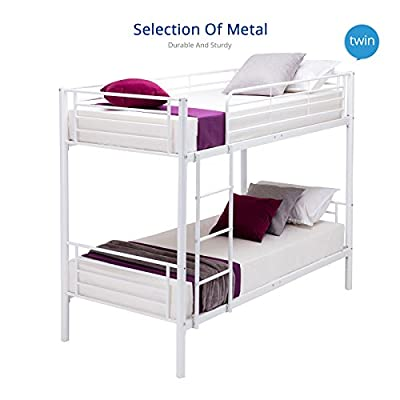 UEnjoy White 2x3FT Single Metal Bunk Bed Frame 2 Person for Adult Children - inexpensive UK light store.