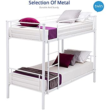 UEnjoy White 2x3FT Single Metal Bunk Bed Frame 2 Person For Adult Children