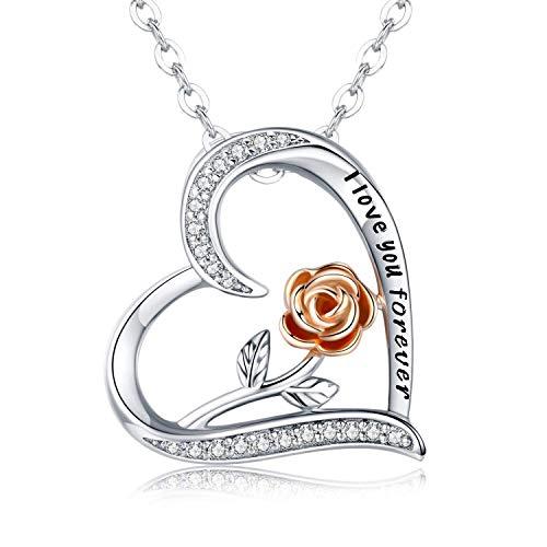 CHENGHONG Rose Blume Anhänger Halskette Herz Kette Damen S925 Sterling Silber Rose Romantische Halskette für Frauen Schmuck Geschenk 45.7cm+5cm (Chemische Verbindung Halskette)