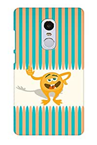 AMAN Multi Line With Cartoon Pic 3D Back Cover for Xiaomi Redmi Note 4