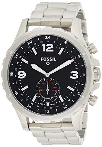 Fossil Herren Hybrid Smartwatch Q Nate - Edelstahl - Silber - Analoge Männeruhr im sportlichen Military-Design mit Smartfunktionen - Für Android & iOS