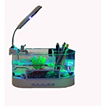 AN-LKYIQI USB mini Desktop LCD lámpara luz pecera acuario LED reloj calendario con filtro y bomba de agua, pecera adornos. , white