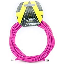 Funda Color Fucsia para Cable de Freno de Acero Laminado Sirga de Ø5 y 2m para Bicicleta Fixie Retro 2898rs