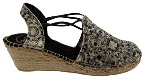 sandalo donna corda nero bianco oro zeppa art TORELLO fantasia espadrillas (Donna IT 35)