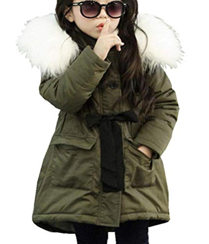 chaussures de séparation f0a71 ba777 LeeHaru Magike Doudoune Enfant Fille Hiver avec Capuche Fourrure Longue  Manteau vêtement Fille Chaud Epais