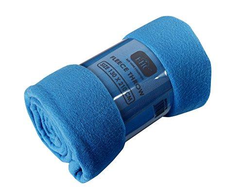 Ehc polar coperta plaid super soffice in pile termico per divano, blu, singolo, 130 x 210 cm.