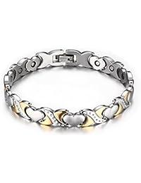 Vnox 9.5mm pulsera curativa magnética del acoplamiento del corazón del acero inoxidable de las mujeres,oro de plata,los 20cm