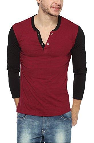 pepperClub Men's Cotton T-Shirt (maroon_vneckhenley-m_Black _40)