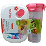Tuelip Printed Lunch Box Set With Water Bottle For School Going Kids Girls & Boys (Pink) 1 Lunch Box & Bottle