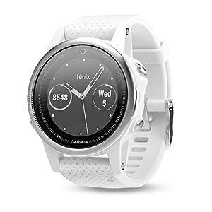 Garmin Fenix 5- Reloj multideporte, con GPS y medidor de frecuencia cardiaca, lente de cristal y bisel de acero inoxidable, 42 mm, Carrara white band