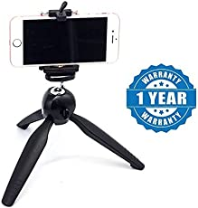 captcha YT-228 7-inch Mini Tripod with 360 Degree Rotating Ball Head with Mobile Clip for All Android and iPhone Smartphones (Assorted)