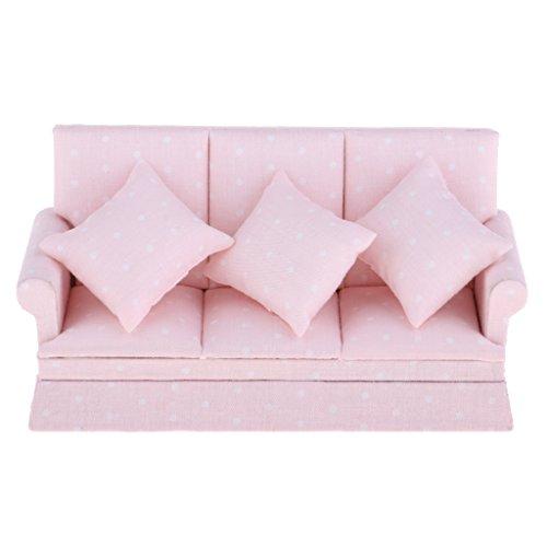 Homyl 1:12 Puppenhaus Miniatur Dreisitzer Sofa Couch mit Kissen, Pink Sofa mit weiß Punkte