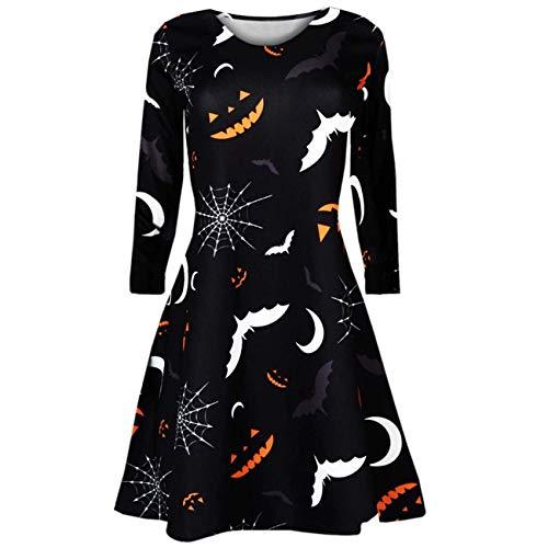 (HhGold Frauen-Kleid, Halloween-Damen-sexy Weinlese-Lange Hülsen-Kürbis-Spinnen-Halloween-Abend-Abschlussball-Kostüm-Schwingen-Kleid (Farbe : Schwarz, Größe : Small))
