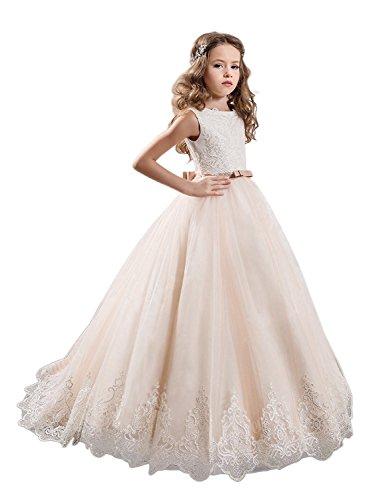 JYDRESS Blumen-Mädchen-Kleid-Spitze-Prinzessin-Hochzeits-Abschlussball-Kleid-erste Kommunion-Kleider (Abschlussball Kleider Lang Größe 11)